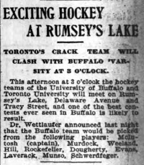 EXCITING HOCKEY AT RUMSEY'S LAKE
