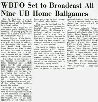 WBFO Set to Broadcast All Nine UB Home Ballgames