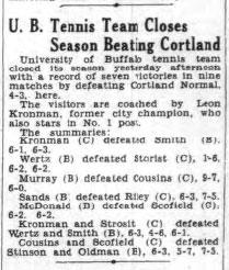 U. B. Tennis Team Closes Season Beating Cortland