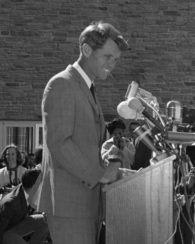 Robert F. Kennedy delivering a 1964 campaign speech on the University at Buffalo Campus.