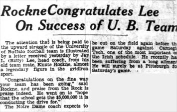 Rockne Congratulates Lee On Success of U.B. Team