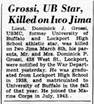 Grossi, UB Star, Killed on Iwo Jima
